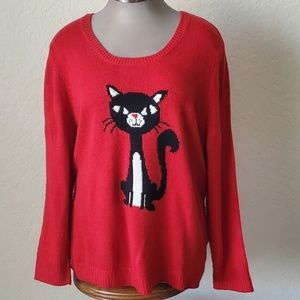 PURRRFECTLY COZY 🐾 RED KITTY SWEATER 🐾 Sz. 3x